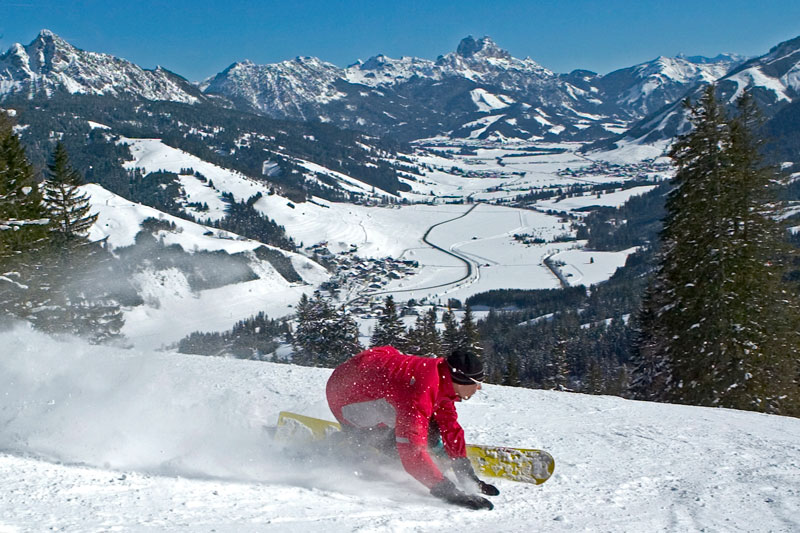 Snowboarden im Tannheimer Tal