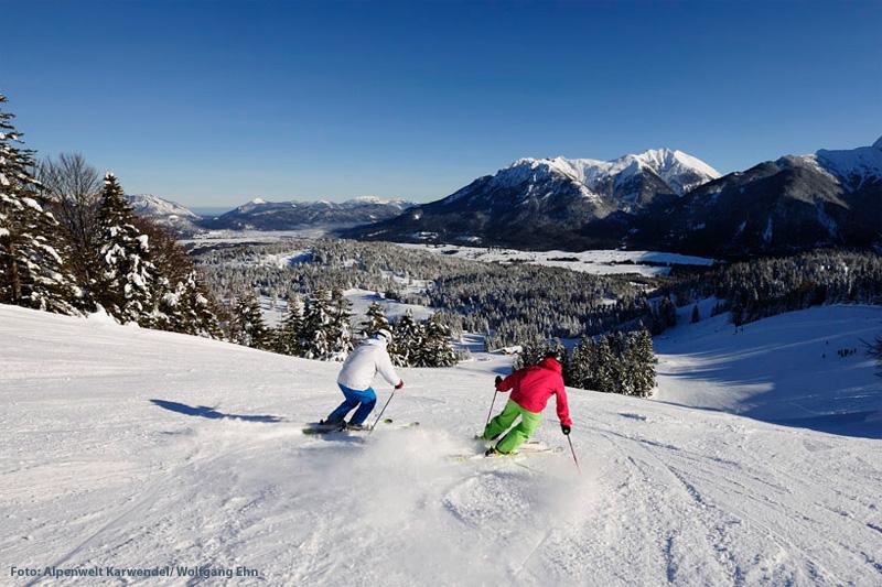 Skigebiet Mittenwald am Kranzberg in der Alpenwelt Karwendel in Oberbayern