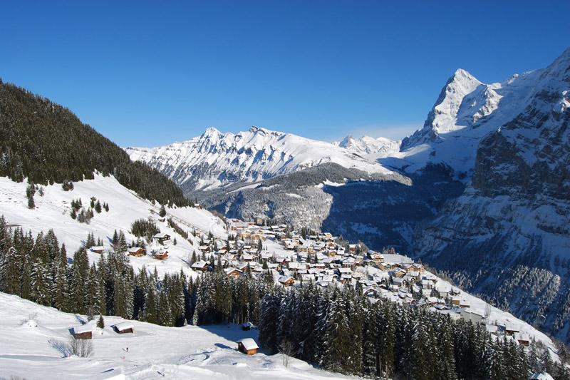 Mürren am Fuß des Schilthorns in der Jungfrauregion im Berner Oberland - Schweiz