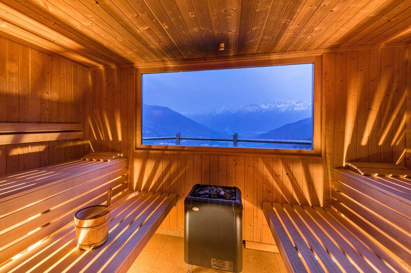 Sauna mit Panoramablick auf die Vinschgauer Berge