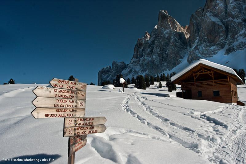 Einen sanften Winterurlaub im Eisacktal in Südtirol verbringst Du im Wanderhotel Lüsnerhof