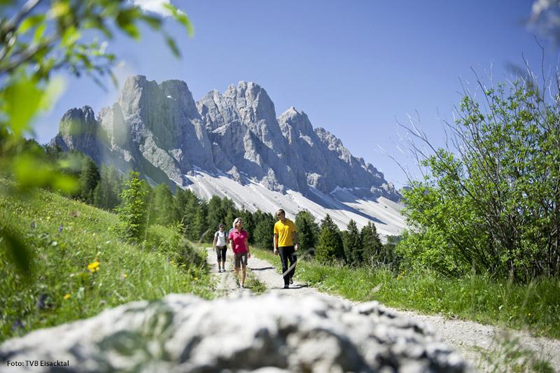 Unzählige Pfade und Steige verführen zu Wanderungen durch Weinberge und Apfelhaine im Tal, am Kastanienweg auf mittlerer Höhe, hinauf auf die wundervolle Villanderer Alm und noch höher auf die Gipfel der Dolomiten