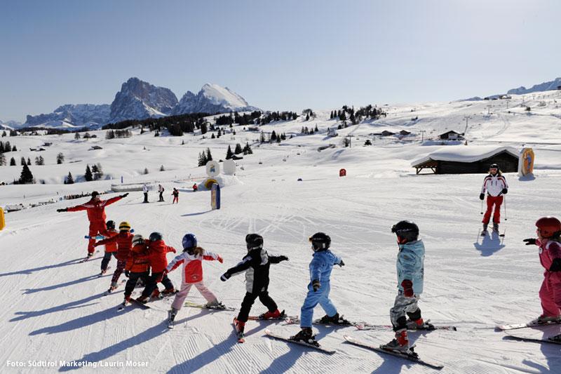 Familienskifahren im Skigebiet Seiser Alm