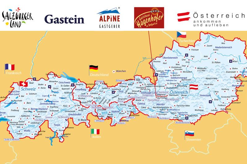 Schau wo sich das Gästehaus Hagenhofer in dieser Alpenkarte befindet