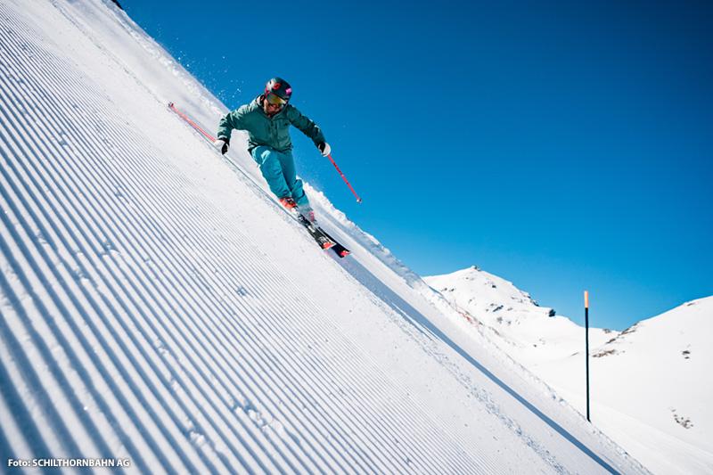 Skipiste für Profis im Skigebiet Mürren-Schilthorn