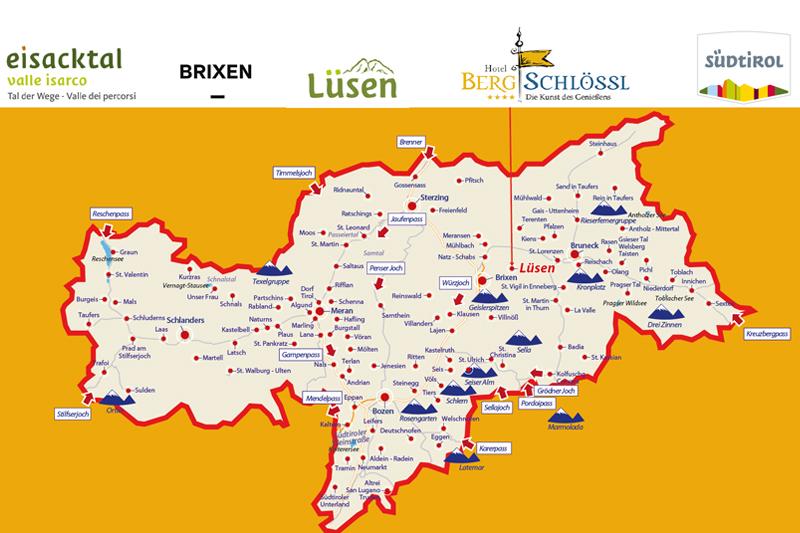 Hier siehst Du die Südtirol Karte - die dient für eine bessere Orientierung
