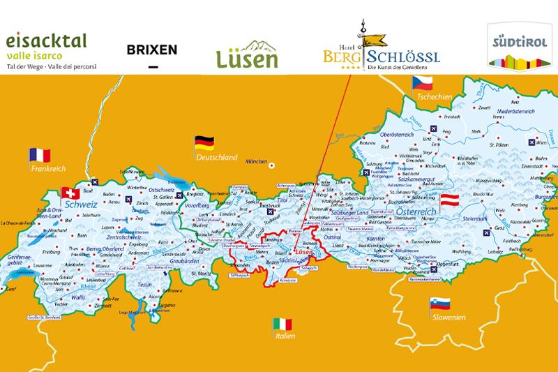 Auf dieser Alpenkarte siehst Du wo sich das Hotel Bergschlössl befindet