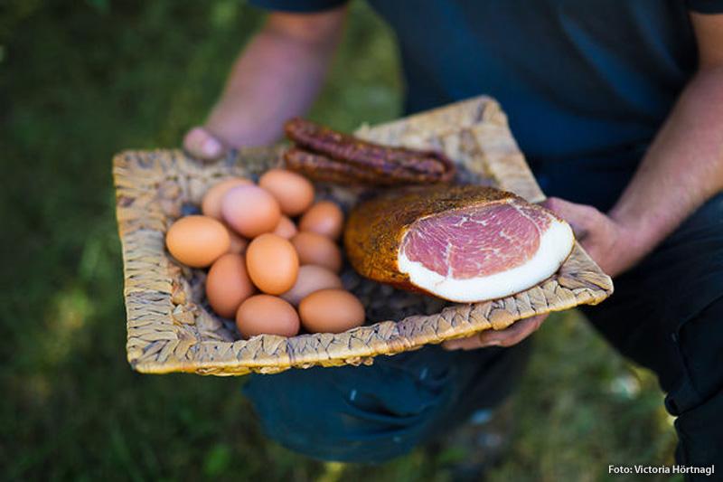 Frühstücksbuffet mit vielen selbst erzeugten, gesunden Naturprodukten aus der eigenen, biologischen Landwirtschaft