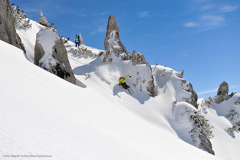 Freeridemöglichkeiten im Skigebiet Warth - Schröcken