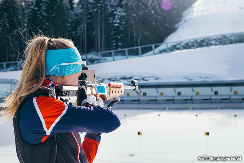 Biathlon-Probieschießen in der WM-Arena in Seefeld