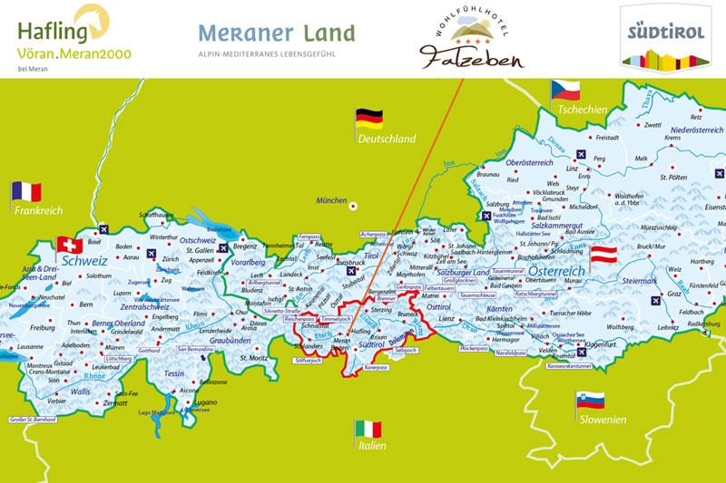 Hier siehst Du die Alpenkarte - nun kannst Du dich besser orientieren und weißt wo Du das Hotel findest