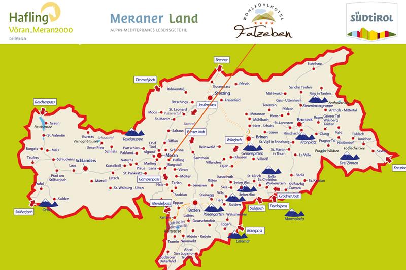 Übersichtliche Südtirolkarte mit den wichtigsten Orten, dient zu deiner Orientierung