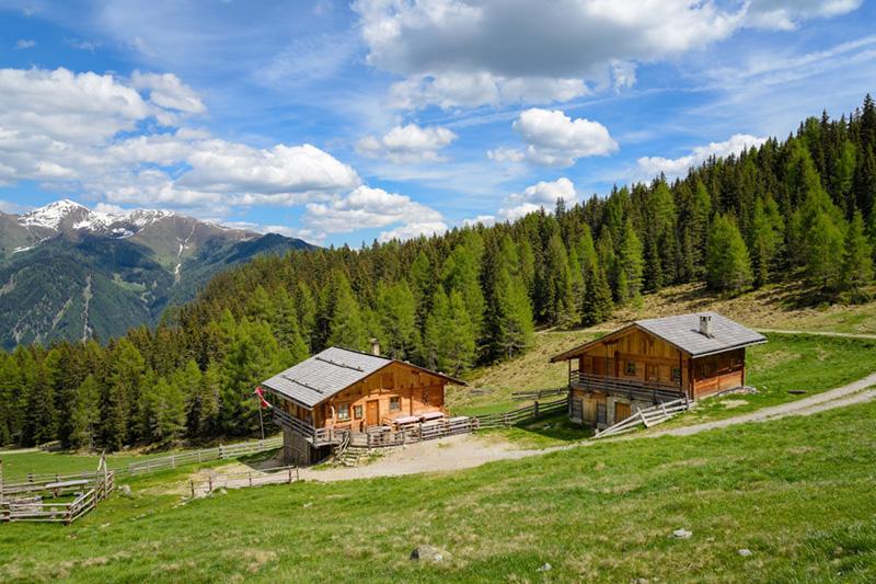 Almhütten im Sommer in Südtirol - ideal für die Wanderjause