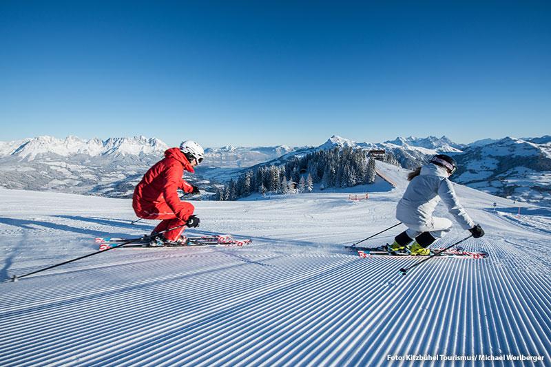 Skifahren am Hahnenkamm in den Kitzbüheler Alpen - Tirol