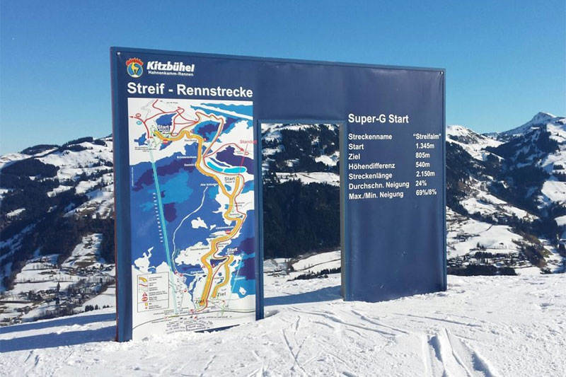 Hahnenkamm Super-G Start im Skigebiet Kirchberg-Pass-Thurn