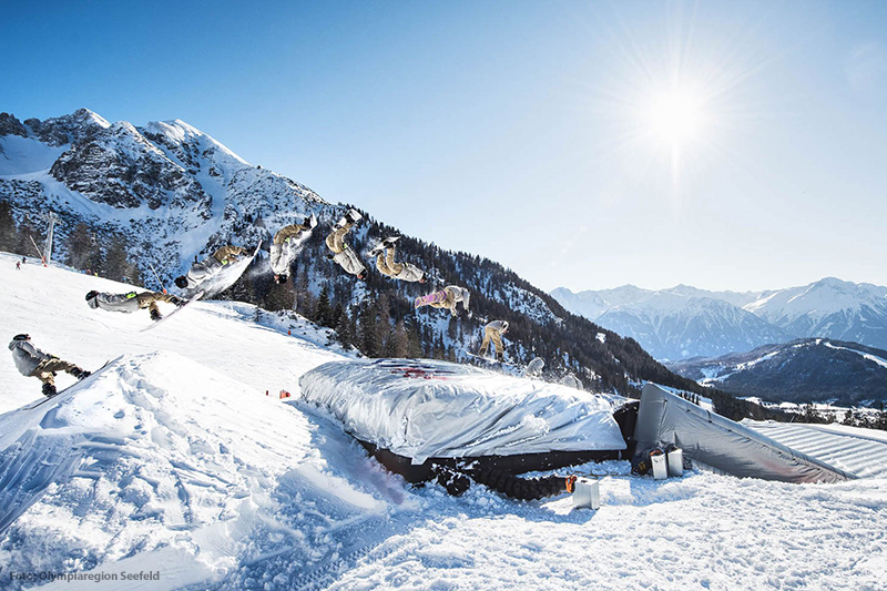 Snowboarden in der Seefeld Olympiaregion