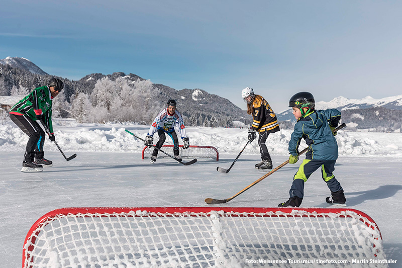 Pondhockey auf dem Weissensee in Kärnten