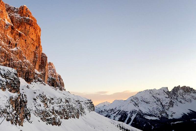 Alpenglühen im Winter