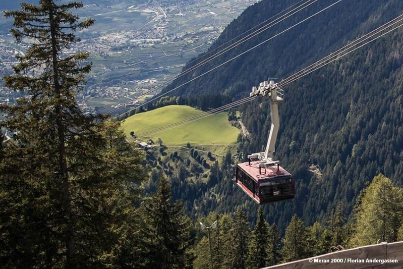 Das Wandergebiet Meran 2000 – 7 Minuten dauert die Fahrt mit der größten Seilbahn Südtirols