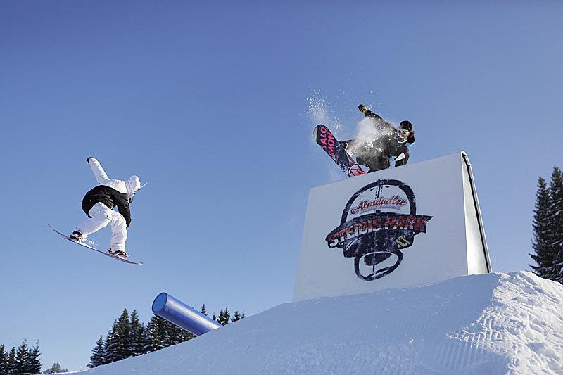 Snowborden im Funpark in Oberstaufen - Allgäu