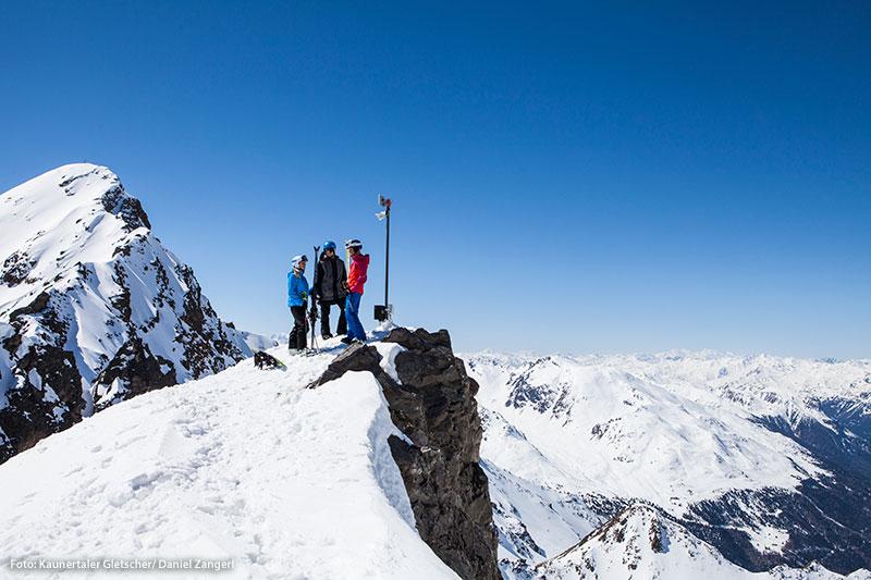 Ski-Pause mit Gletscher-Ausblick