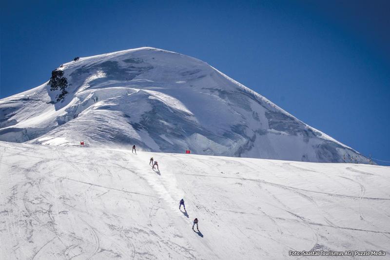 Allalin Rennen die höchsten Gletscherabfahrten der Welt