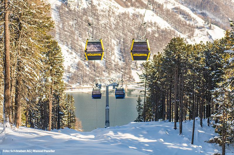 Die Bergbahn im Skigebiet Schöneben