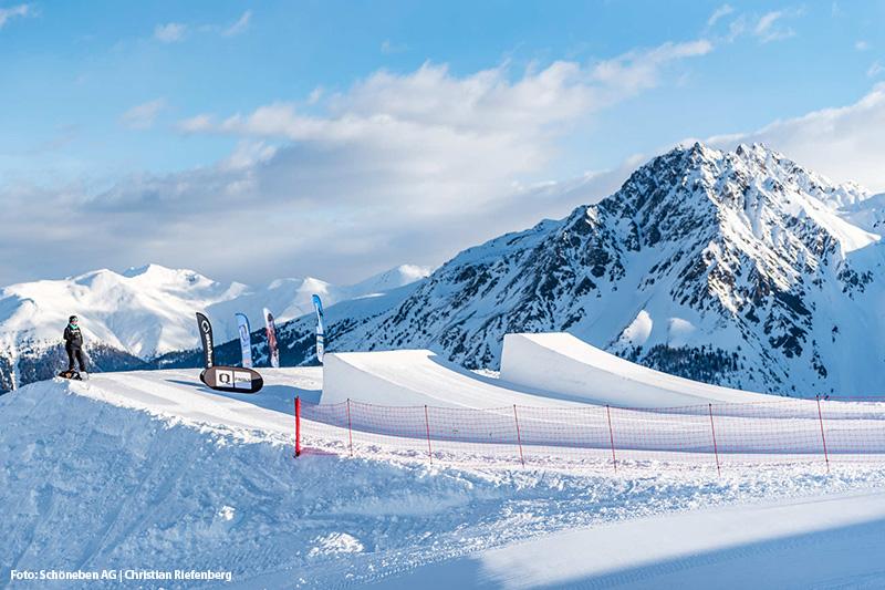 Der mehrfach ausgezeichnete Snowpark Schöneben im Zentrum des Skigebietes