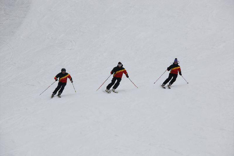 Skifahren in Formation