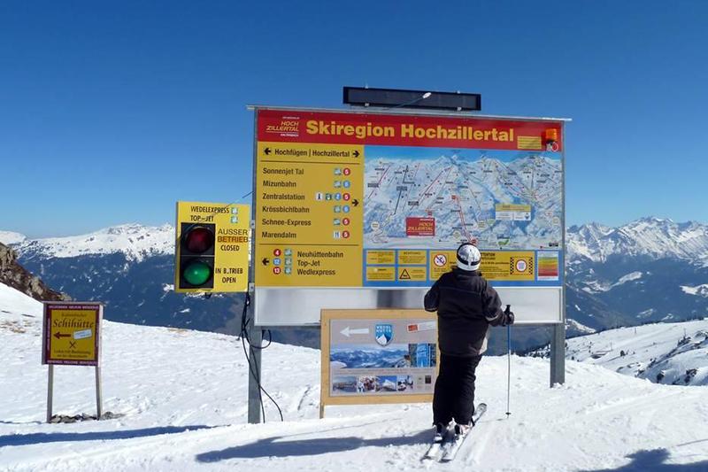 Die Pistenausschilderung im Skiegebiet Fügen - Kaltenbach