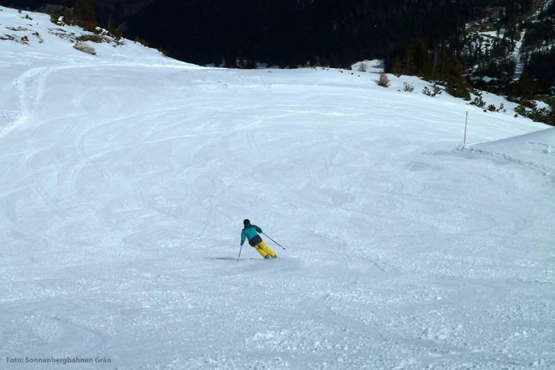 Mittelschwere Piste im Skigebiet Grän - Füssener Jöchle im Tannheimer Tal - Österreich