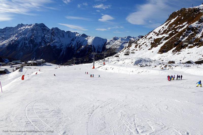 Die Anfängerpiste Sonnenbahn im Skigebiet Ischgl-Samnaun