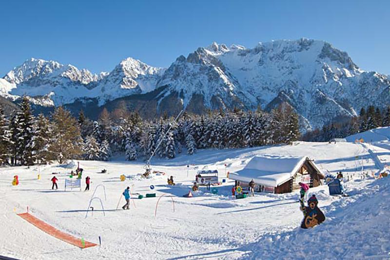 Der Übungsplatz im Familien Skiparadies am Kranzberg in der Alpenwelt Karwendel - Oberbayern