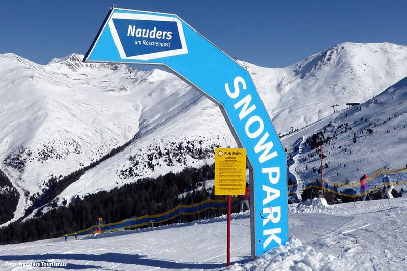 Der Snowpark im Skigebiet Nauders in Tirol