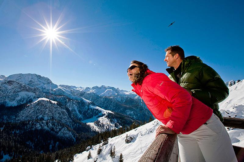 Kleine Pause mit Bergblick im sonnenverwöhnten Skigebiet Obergurgl-Hochgurgl im Ötztal