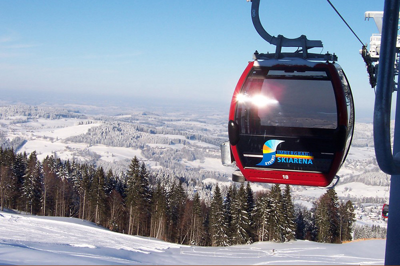Gondel der Imbergbahn in der Skiarena Steibis in Oberstaufen