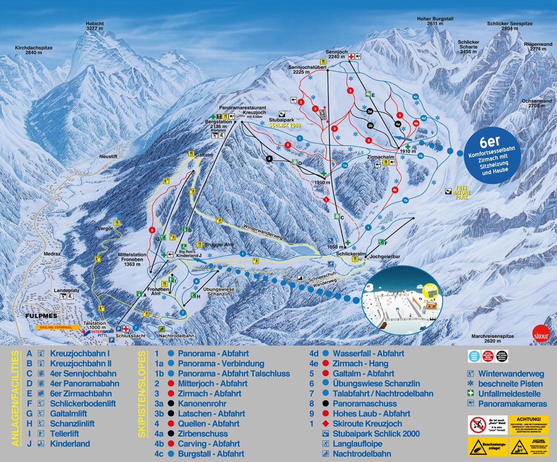 Pistenplan Schlick 2000