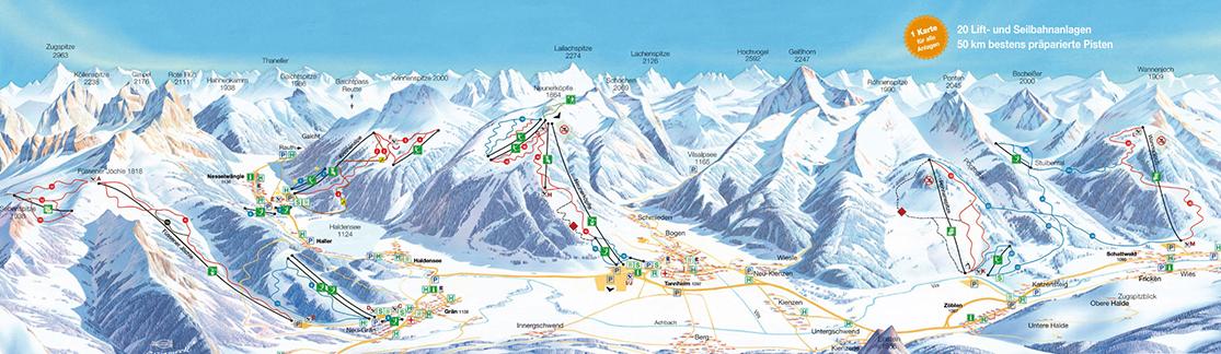 Pistenplan Skigebiet Tannheim
