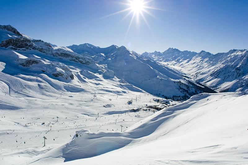Blick ins Skigebiet Ischgl in Österreich