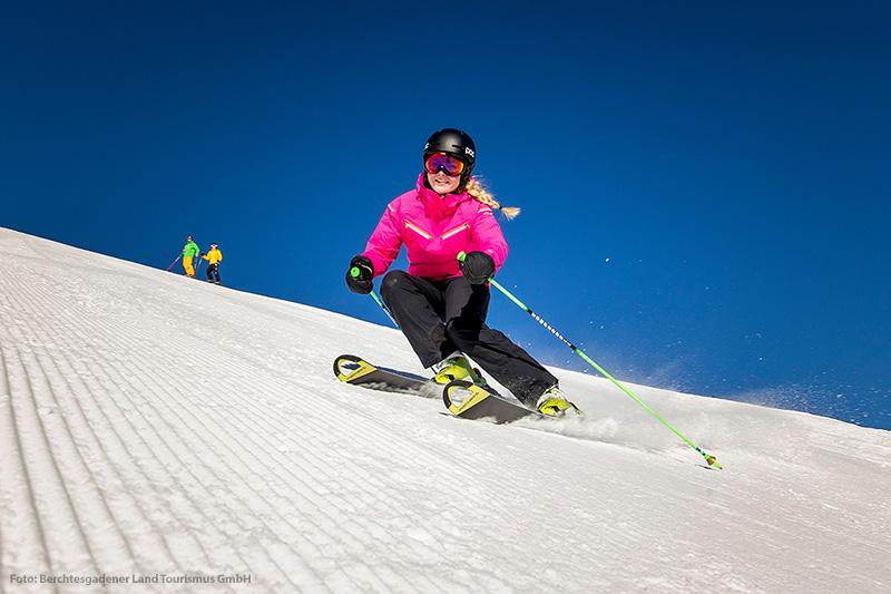 Skifahren auf Pisten am Jenner