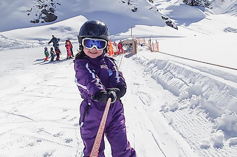 Seil- Übungslift für Kinder im Skigebiet Warth - Schröcken