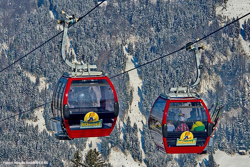 Gondelbahn im Skigebiet Hündle