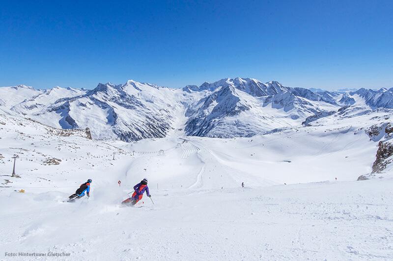 Die Gletscherpiste am Schlegeis im Skigebiet Hintertuxer Gletscher