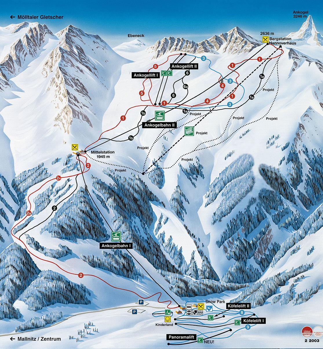 Pistenplan Skigebiet Ankogel