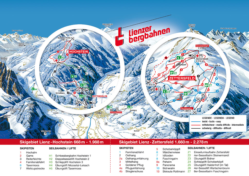 Pistenplan Skigebiet Lienz