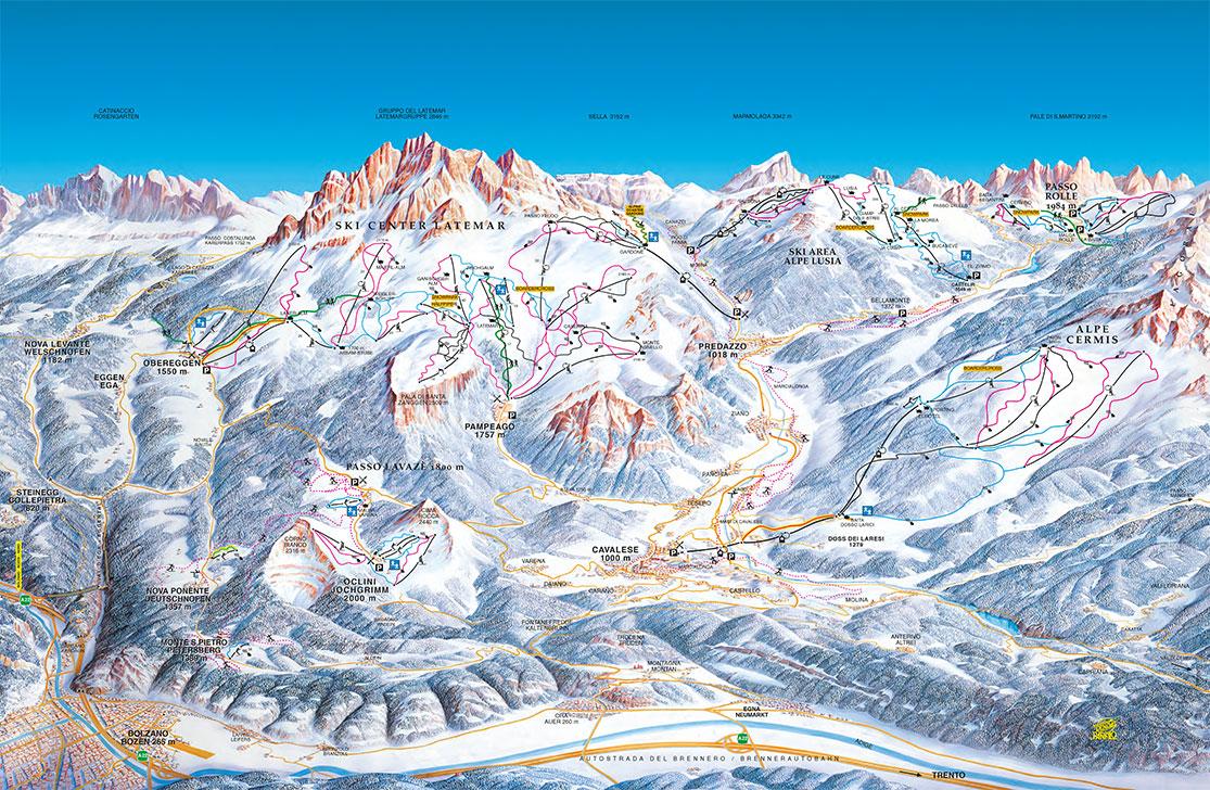 Pistenplan Ski Center Latemar