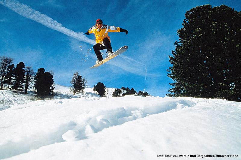 Snowboarden in der Turacher Höhe