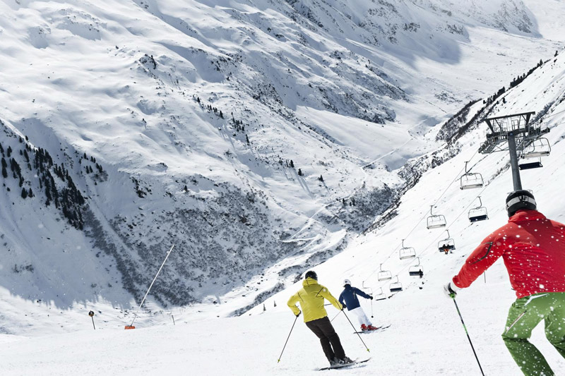 Skiabfahrt am Pitztaler Gletscher