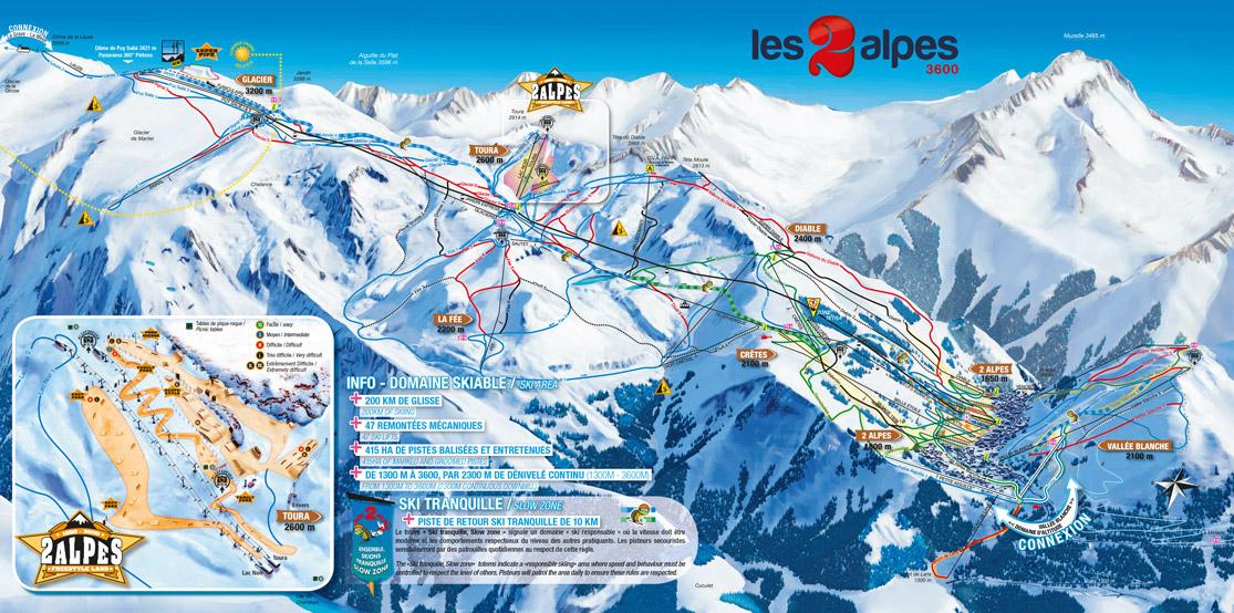 Pistenplan Les 2 Alpes