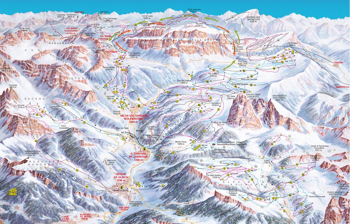 Pistenplan Val Gardena Gröden Dolomites